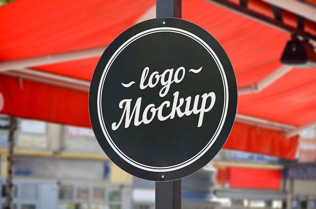 Restaurant and coffee shop round shape sign mockup