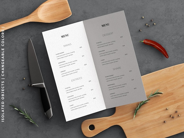 Restaurant cooking food menu concept mockup and scene creator with kitchenware flat lay isolated
