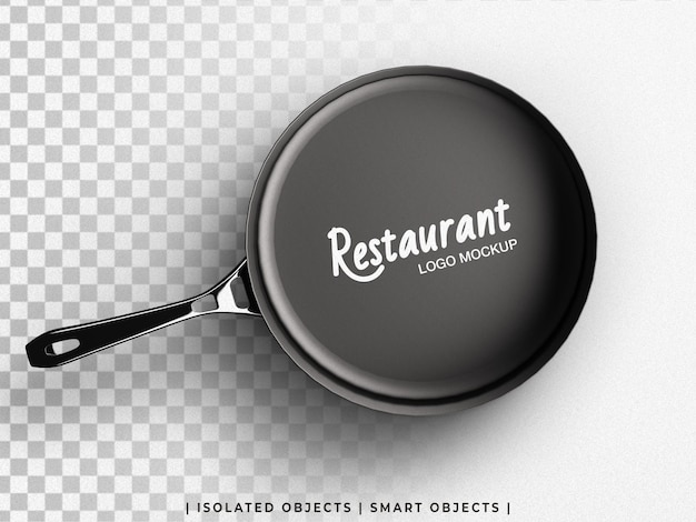 Restaurant culinary logo mockup on cooking fry pan top view isolated