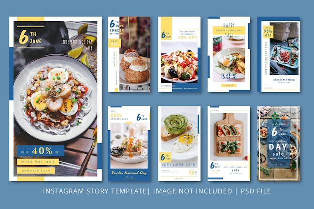 Графический шаблон instagram stories restaurant discount