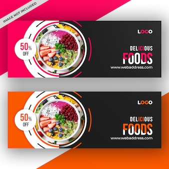 Restaurant facebook cover or banner template