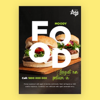Restaurant flyer template with burgers