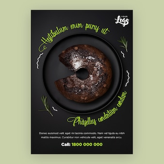 Restaurant flyer template with cake