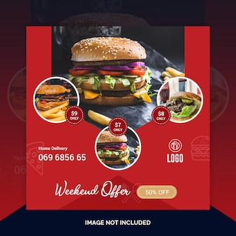 Restaurant food instagram post, square banner or flyer template