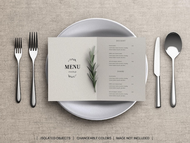 Restaurant food menu concept mockup and scene creator with tableware