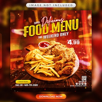 Флаер меню ресторана или шаблон баннера в социальных сетях