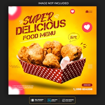 Restaurant or food menu social media post template