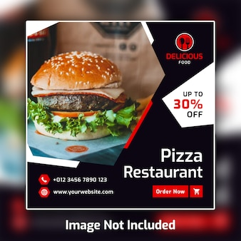 Restaurant food social media post banner template psd