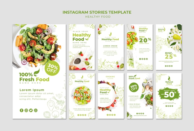 Restaurant instagram stories set template
