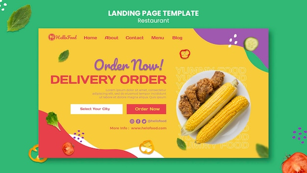 Restaurant landing page with photo