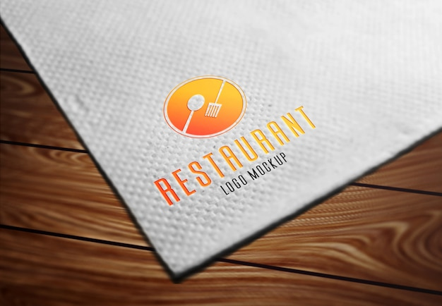 Restaurant logo mockup on tissue paper