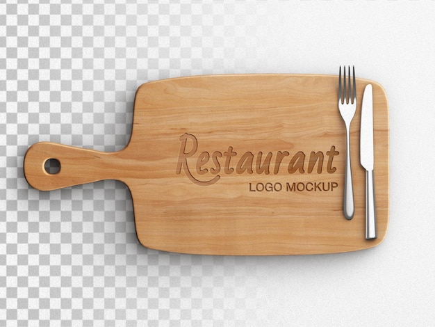 Restaurant logo mockup on wooden cutting board cooking concept with tableware flat lay isolated