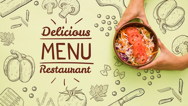 Restaurant menu background with tasty salad