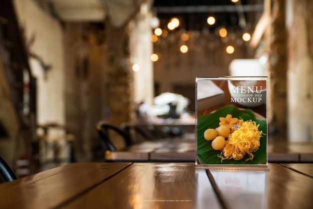 Restaurant menu and cafe menu holder stand on table mockup