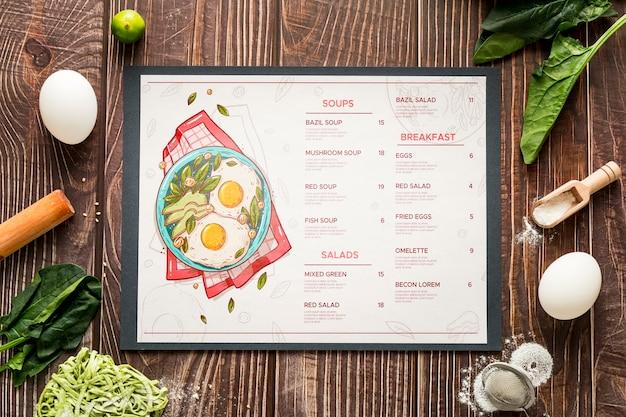 레스토랑 메뉴 개념 모형 무료 PSD 파일
