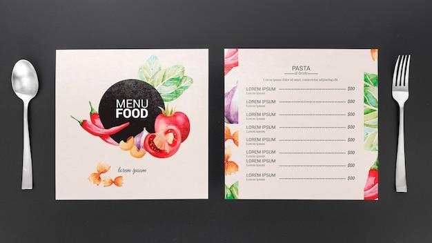 Restaurant menu concept mockup