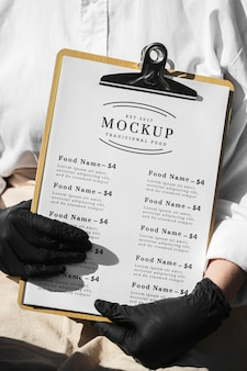 Restaurant menu mock-up on clipboard