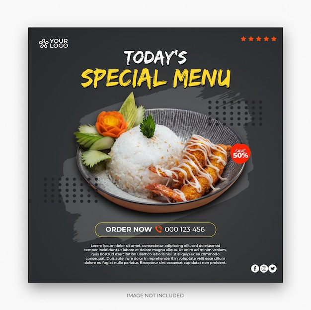 Restaurant menu square banner