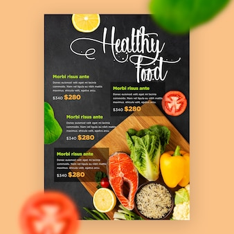 Restaurant menu template with vegetables