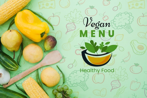 Restaurant menu with vegetables and copy space