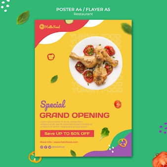 Restaurant print template with photo
