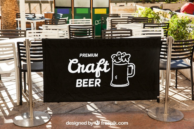 Restaurant sign mockup with terrace