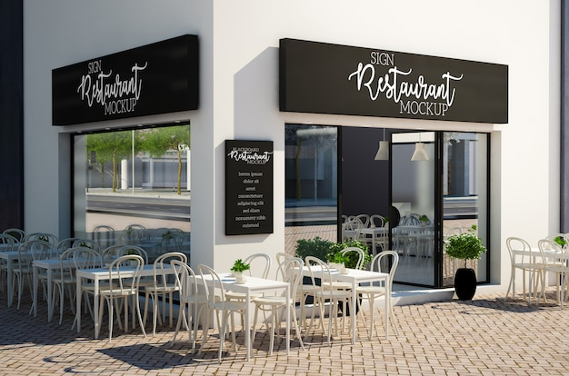 Restaurant signboard and blackboard mockup