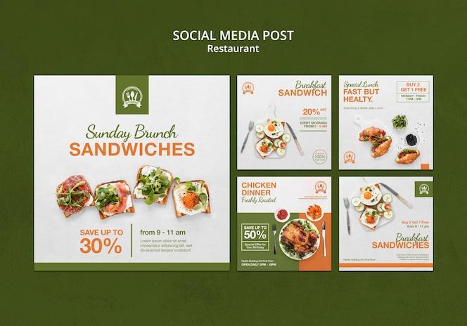 Шаблон сообщения в социальных сетях о ресторане
