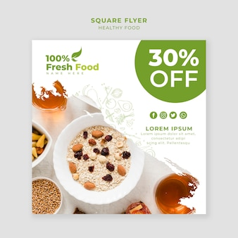 Restaurant square flyer template