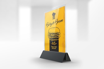 Restaurant table tent mockup