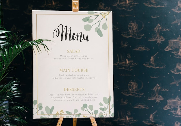 Restaurant today's menu card mockup