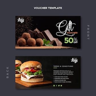 Ресторан ваучер шаблон с шоколадом и гамбургерами