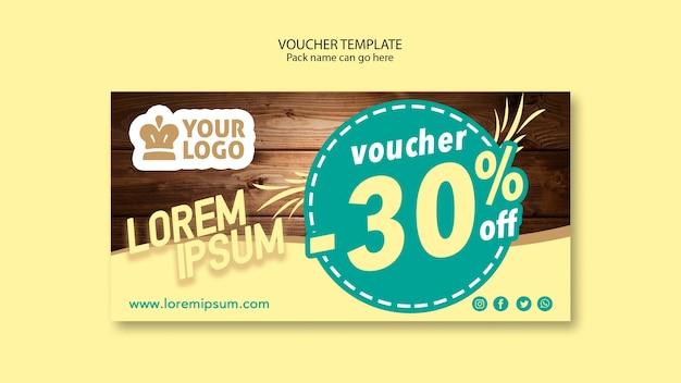 Restaurant voucher template with sales