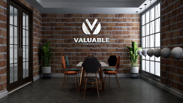 Restaurant wall logo mockup in the cafe or restaurant meeting room with brick wall