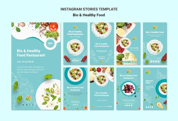 Restaurant with healthy food instagram stories