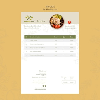 Restaurant with healthy food invoice template