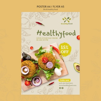 Restaurant with healthy food poster template