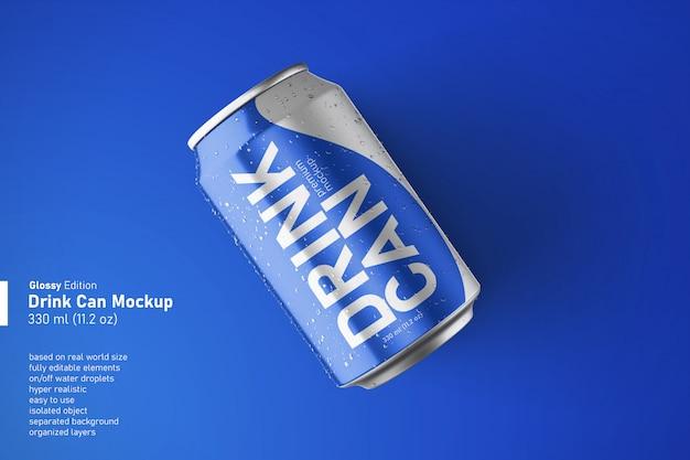 규칙적인 크기의 모형에서 휴식 위치 소다 음료 캔