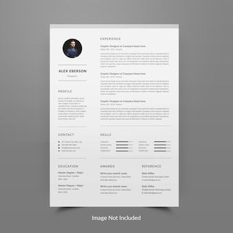 Resume or cv template editable