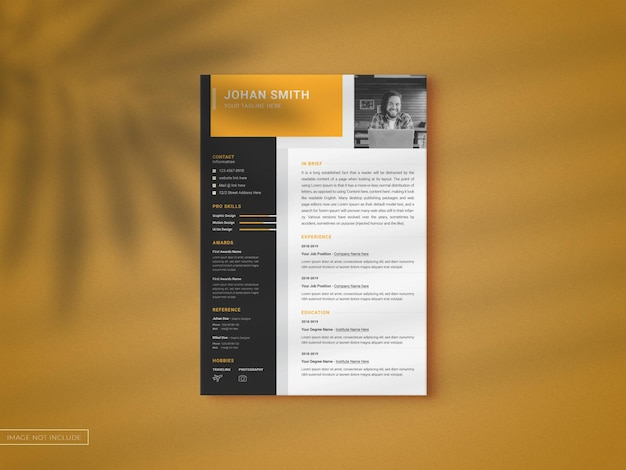Resume cv template with a4 modern clean mockup clean mockup