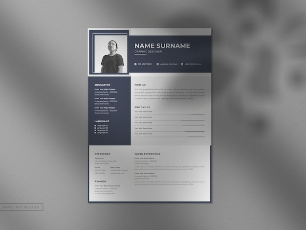 Resume cv template with a4 modern clean mockup