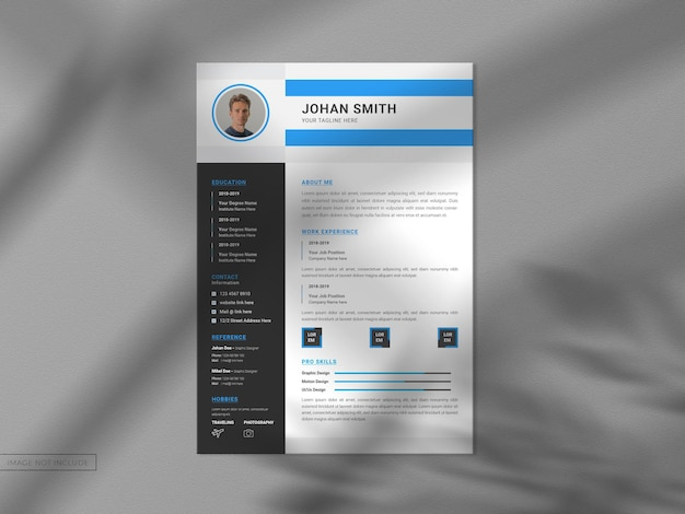 Resume cv template with modern clean mockup