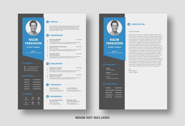 Resume cv with cover letter design template