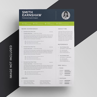 Resume template with green accent