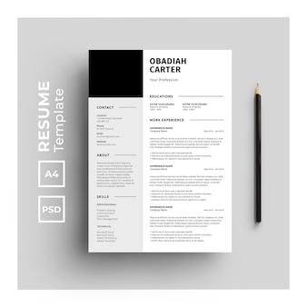 Resume template with minimalist design