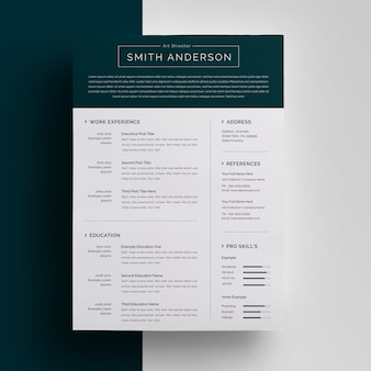 Resume template with topbar