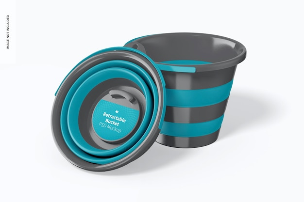 Retractable bucket mockup, leaned
