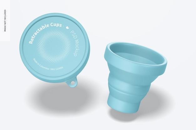 Мокап выдвижной чашки, падающий