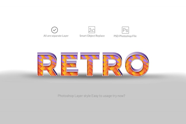 Retro 3d abstract text effect
