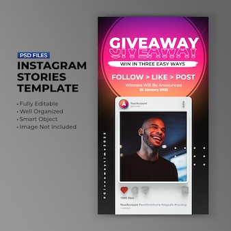 Retro 3d minimalist instagram giveaway promotion template